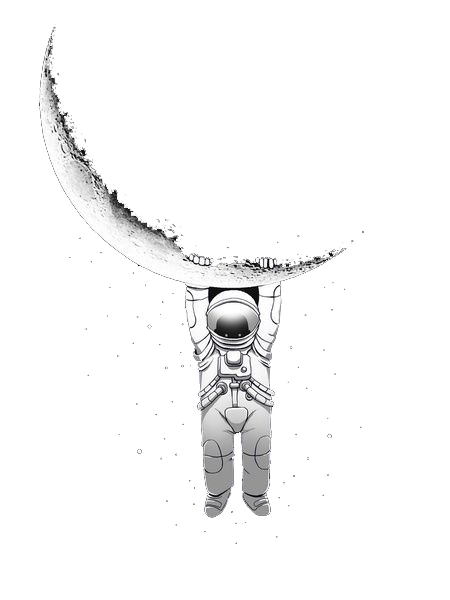 astronaut hanging from moon