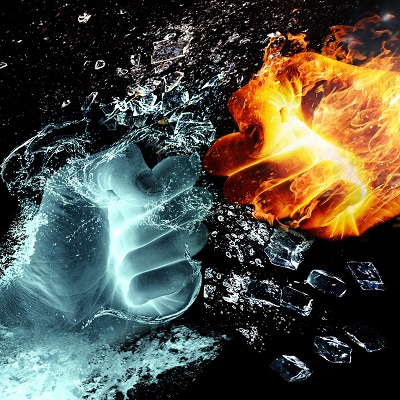 Image of fire and water fist